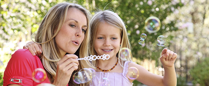 Mother and Daughter with bubbles